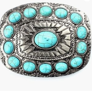 Western turquoise color Belt Buckle